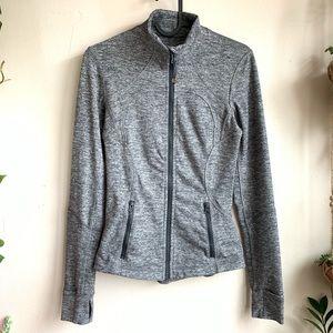 Lululemon tapered zip up heather gray jacket EUC